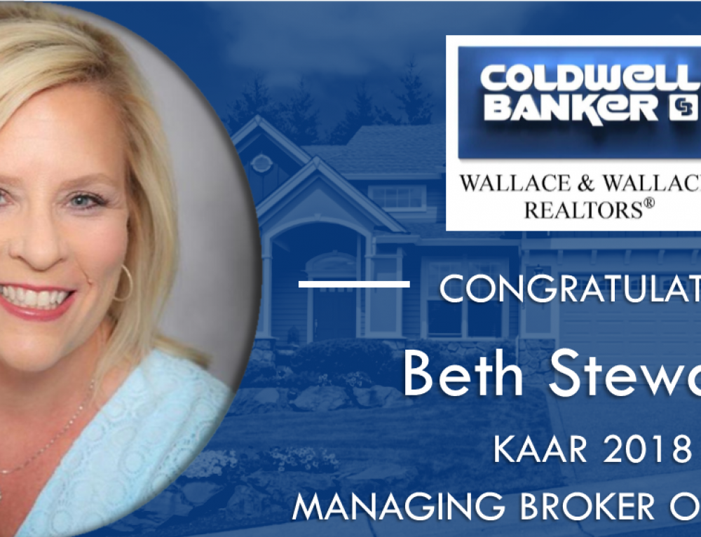 "Coldwell Banker Wallace & Wallace, RealtorsⓇ Broker Beth Stewart Named by KAAR as 2018 ""Managing Broker of the Year"""