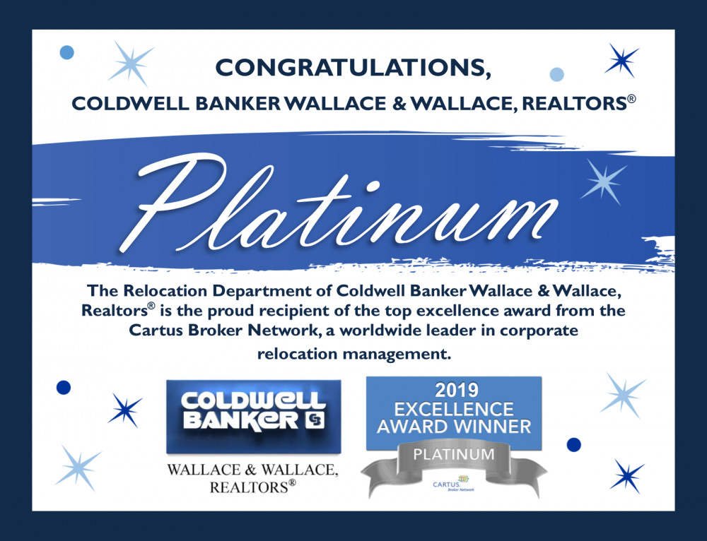 Coldwell Banker Wallace & Wallace, RealtorsⓇ is Cartus Broker Network Platinum Award Winner for 6th Consecutive Year
